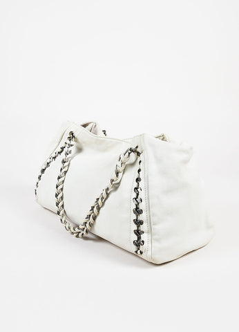 "Chanel Cream Leather 'CC' Logo ""Modern Chain East/West"" Shoulder Tote Bag Sideview"