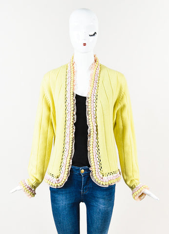 Chanel Yellow Pink Cashmere Pom Lace Trim Long Sleeve Cardigan Front