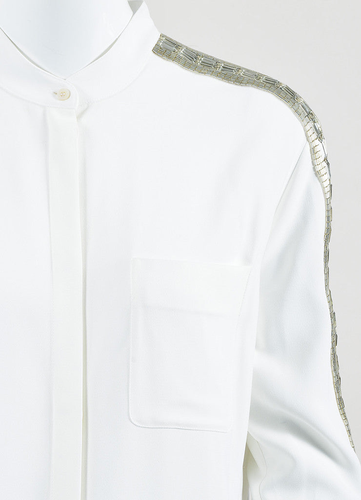Chloe White Sequin Rhinestone Embellished Long Sleeve Blouse Top Detail