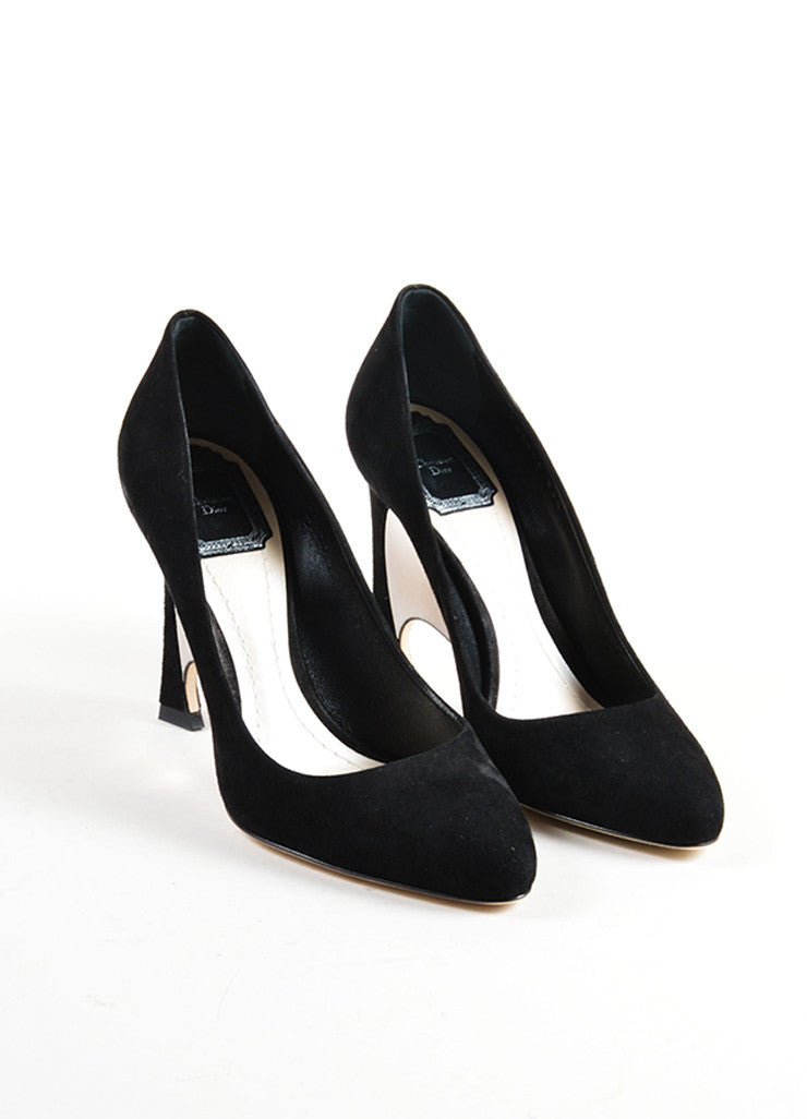 Christian Dior Black Suede Leather Optique Mirror Heel Pumps Frontview