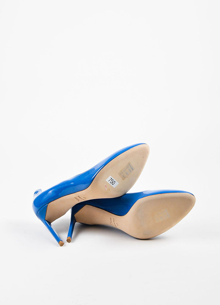 "Blue Christian Dior Patent Leather Wavy ""Silhouette"" Pumps Sole"