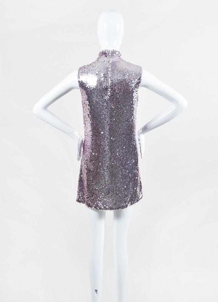 Christian Dior Pink Sequin Sleeveless Band Collar Shift Dress Backview