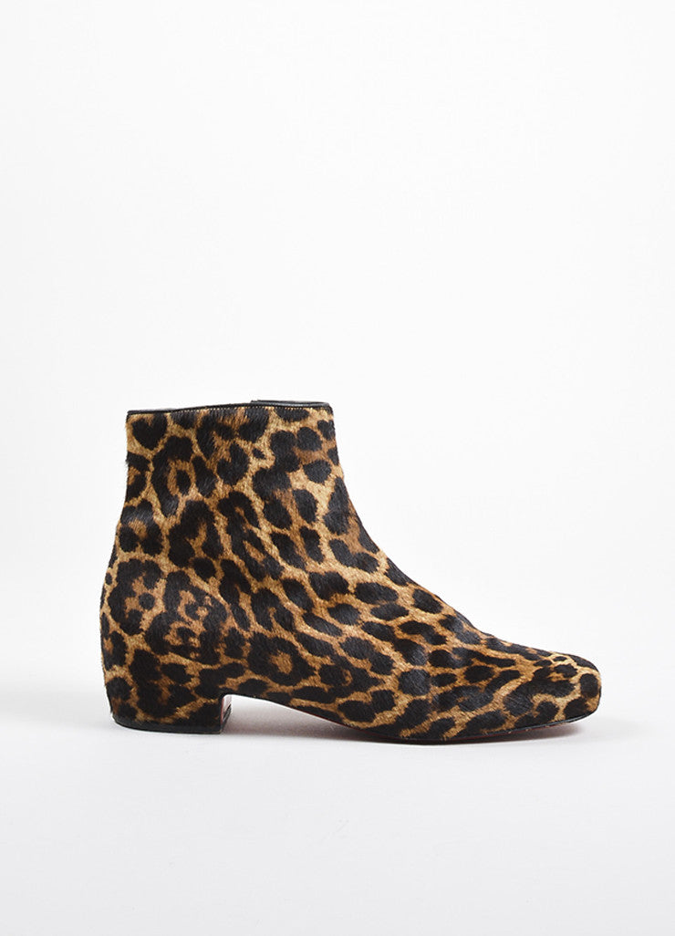 "Christian Louboutin Brown Pony Hair Leopard Print ""Tounoir"" Boots Sideview"
