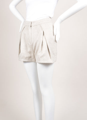 Christian Wijnants New With Tags Beige Wool and Mohair Pleated Shorts Sideview