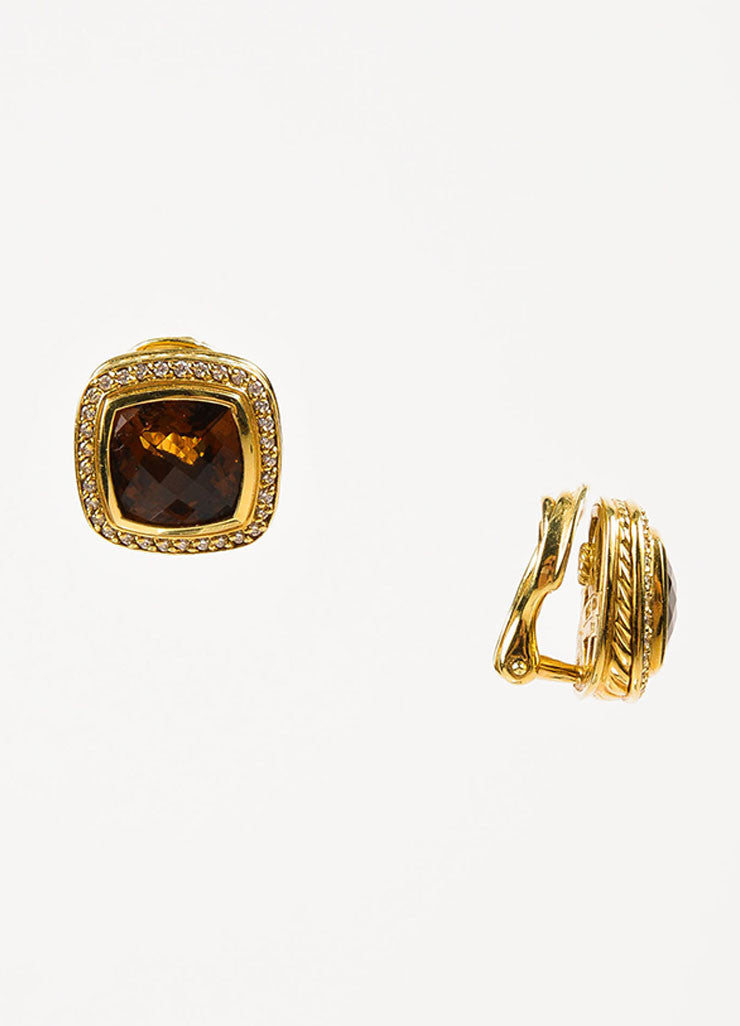 "David Yurman Citrine, 18K Gold, and Diamond ""Albion Collection"" Square Earrings Sideview"