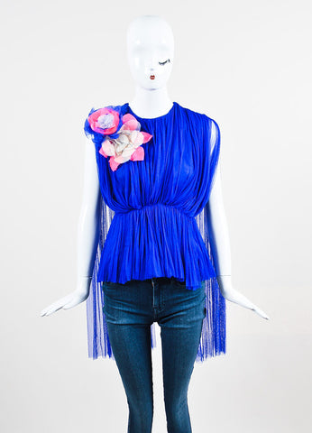 Blue and Pink •ÈÀDelpozo Chiffon Sheer Pleated Floral Applique Top Frontview
