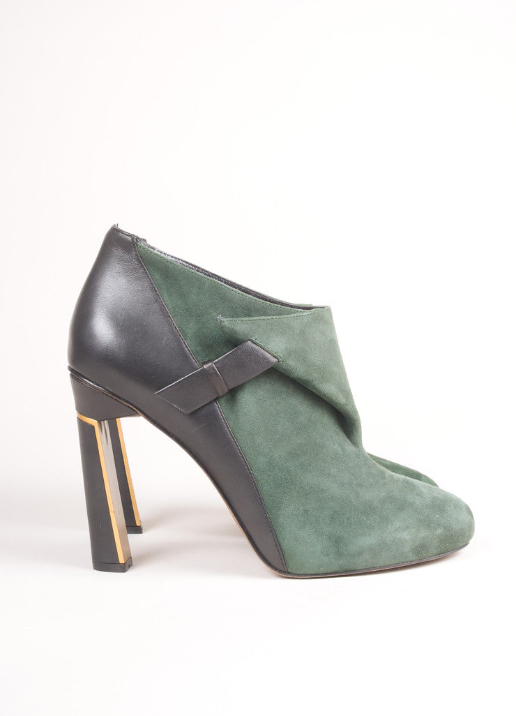 Derek Lam New In Box Black and Green Suede Leather Wrap High Heel Booties Sideview