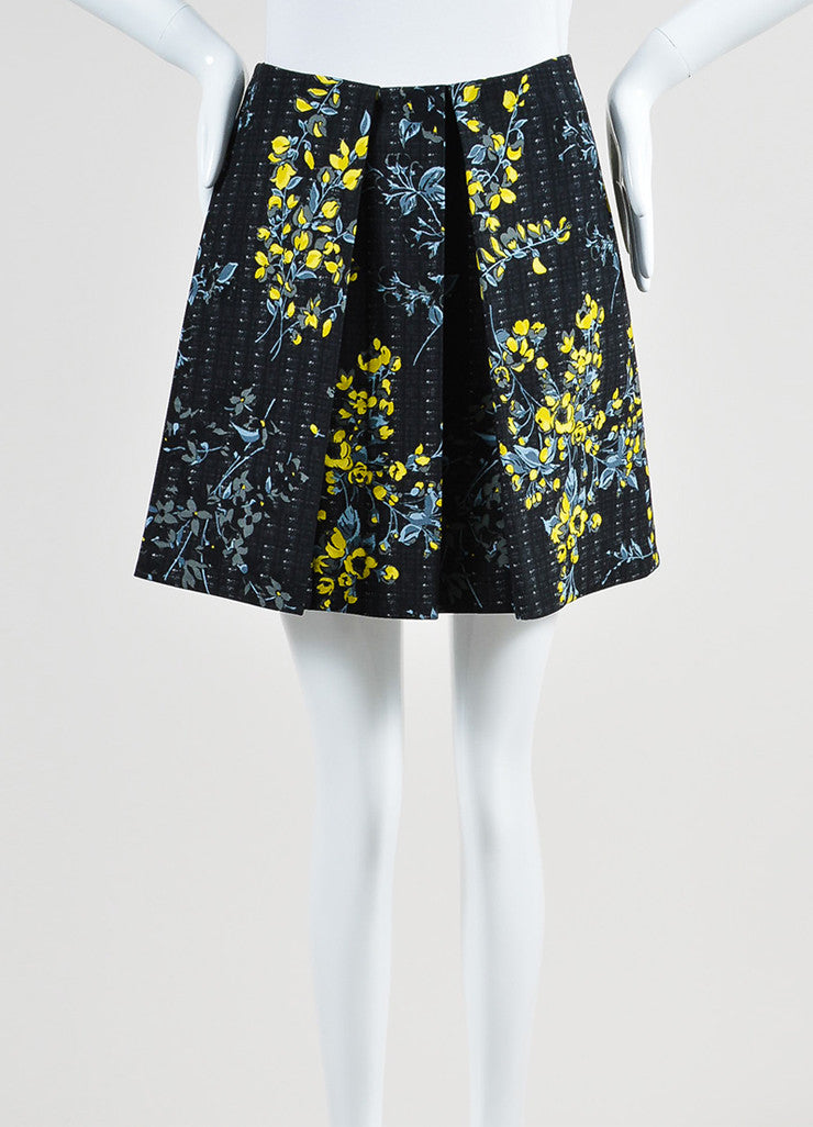 Black, Yellow, and Grey Marni Floral Print Pleated A-Line Skirt Frontview