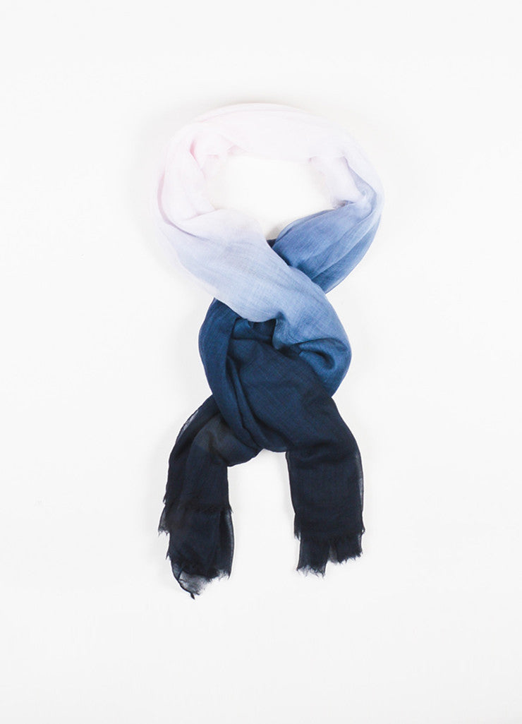 Dior Black, Grey, and Blue Ombre Silk Gauze Oversized Fringe Trim Wrap Scarf Frontview