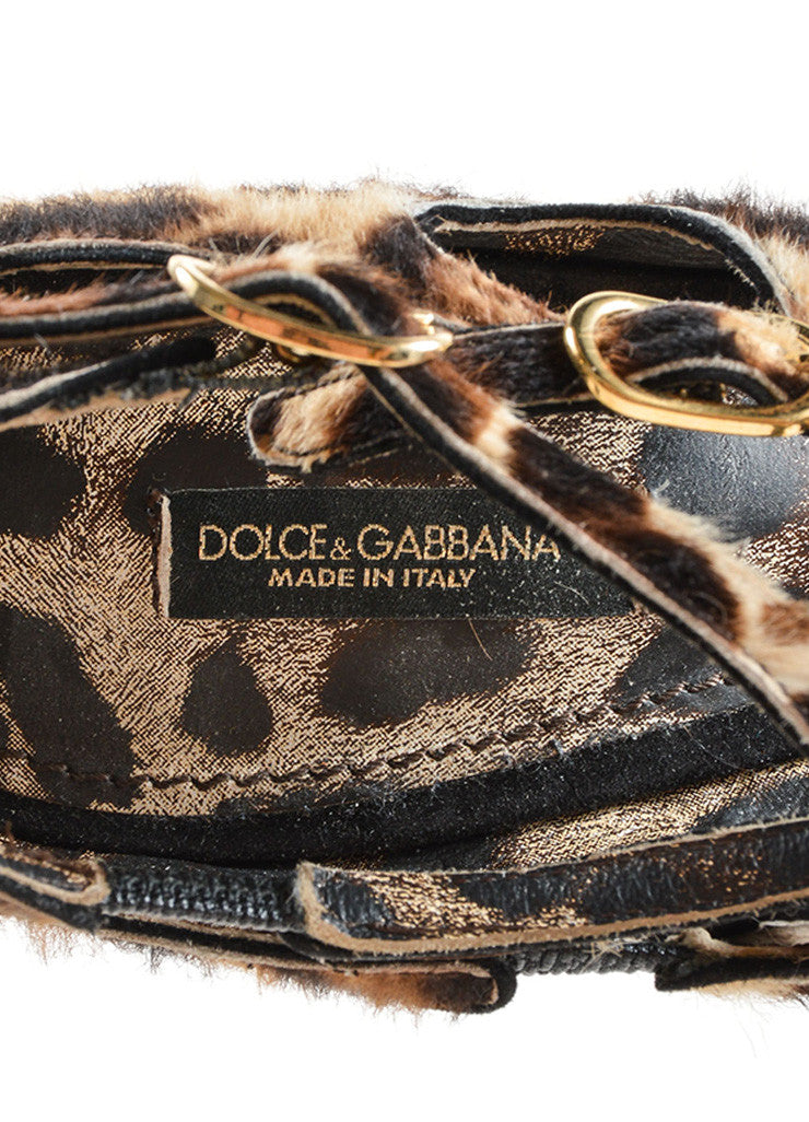 Dolce & Gabbana Black Suede Pony Hair Leopard Strappy High Heel Sandals Brand