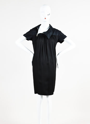 Dries Van Noten Black Pleated Short Sleeve Sack Dress Frontview