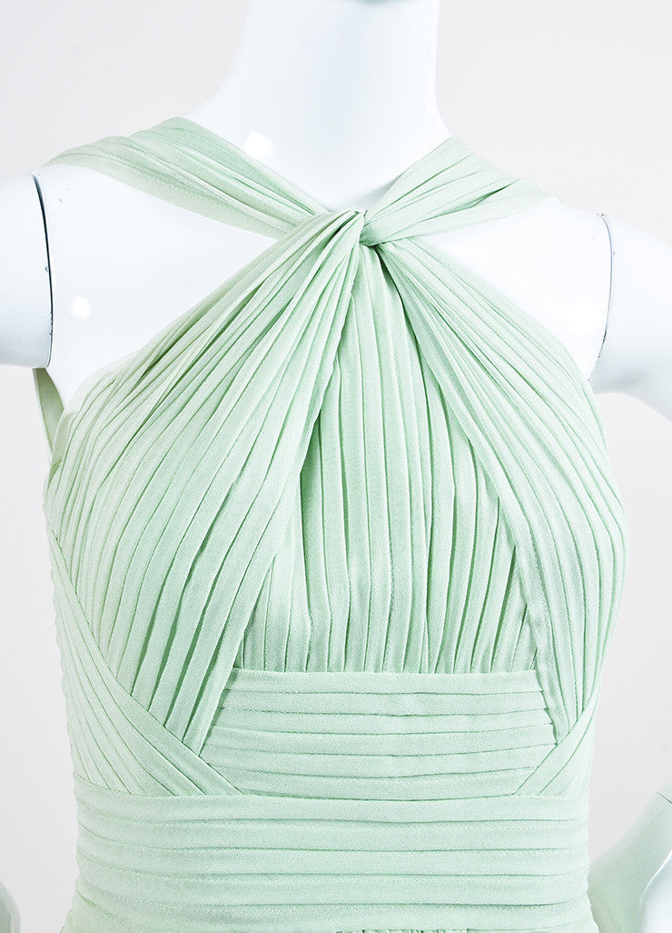 Mint Green Elie Saab Chiffon Pleated Cross High Neck Sleeveless Gown Detail