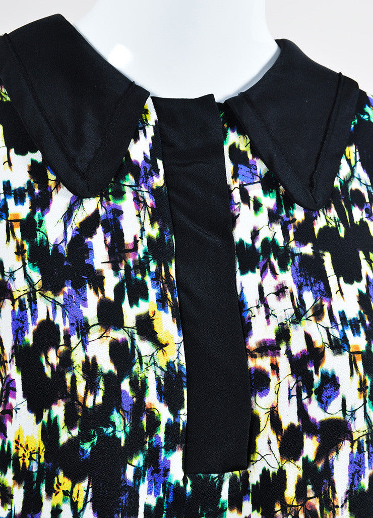 "Multicolor Erdem Crepe Blur Print ""Nessana"" Sleeveless Shift Dress Detail"