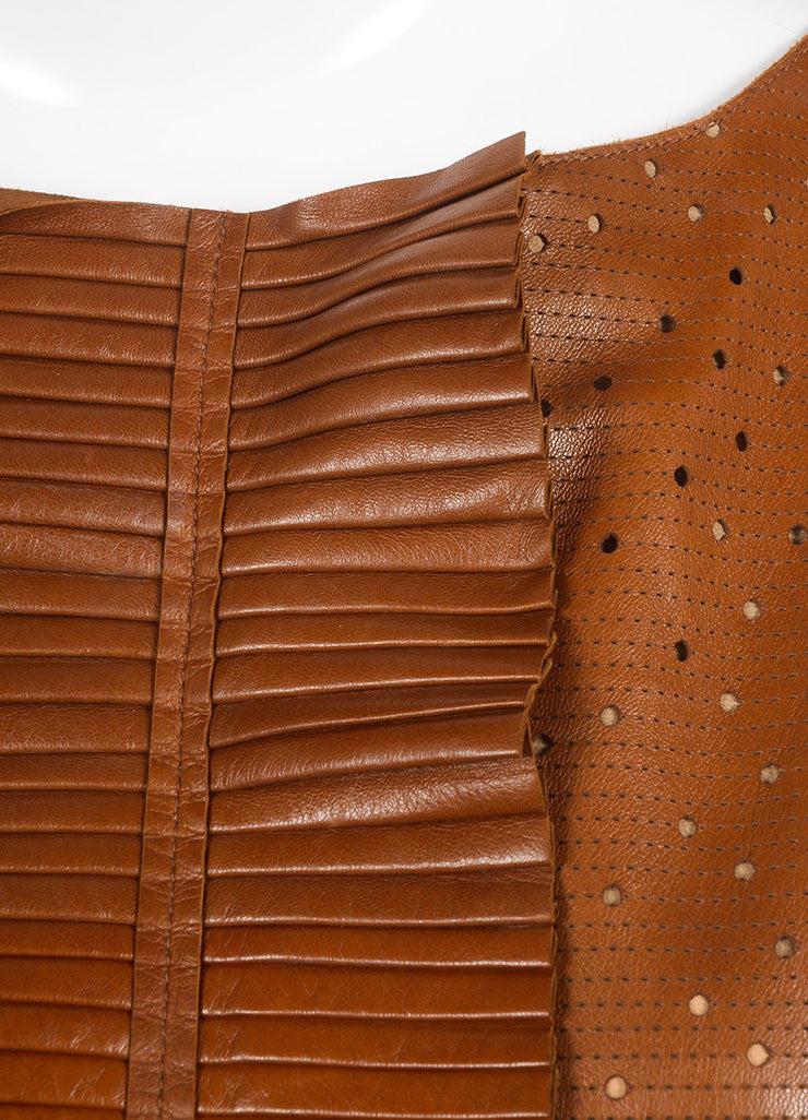 Fendi Brown Preforated Sleeveless Leather Shift Dress Detail