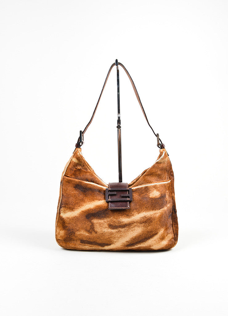 Brown Fendi Pony Hair and Leather Animal Striped 'FF' Logo Shoulder Bag Frontview