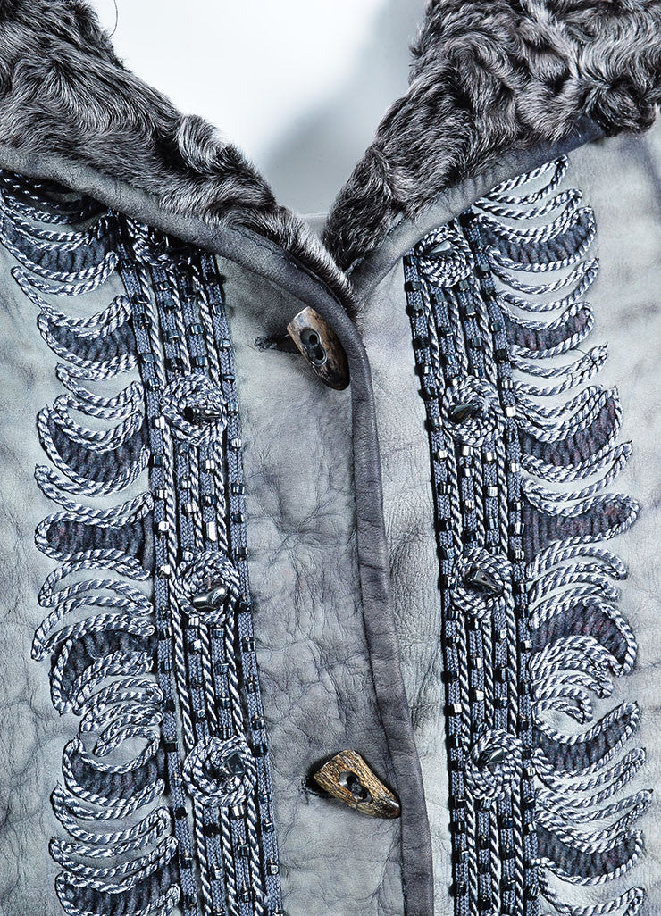 Giuliana Teso Grey Suede Leather Shearling Fur Embroidered Embellished Coat Detail