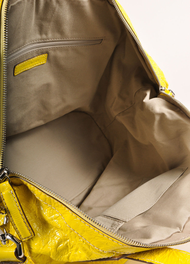 "Givenchy Canary Yellow Crinkled Patent Leather Medium ""Nightingale"" Bag Interior View"