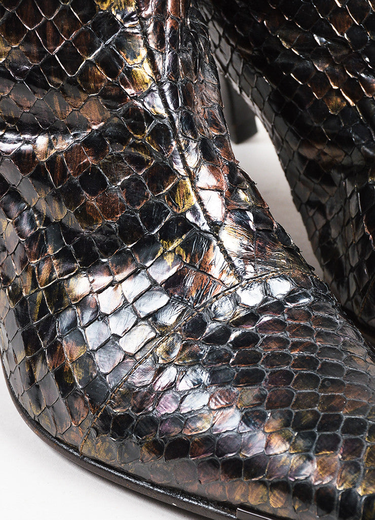 Gucci Black Bronze Multicolor Python Iridescent Knee High Boots Detail