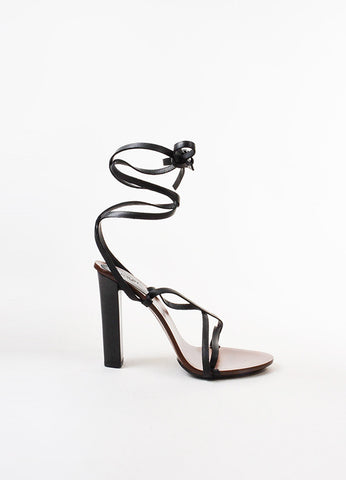 Gucci Black and Brown Leather and Wood Wraparound Strap Tower Heel Sandals Sideview