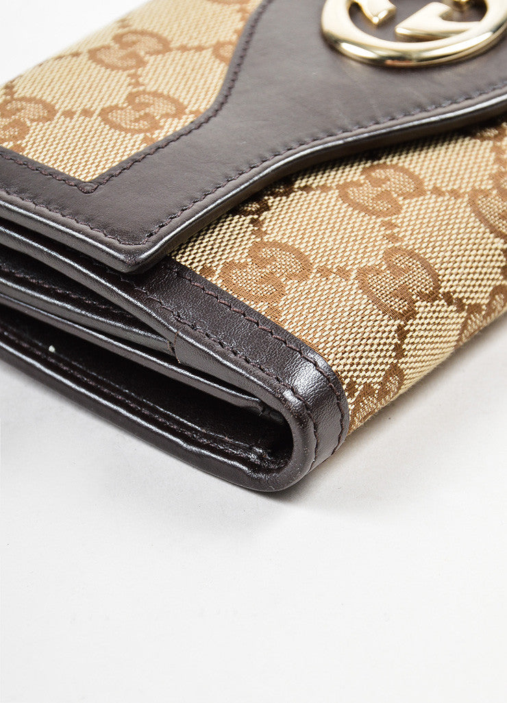"Gucci Brown and Tan Canvas and Leather Monogram ""Interlocking G Continental"" Wallet Detail"