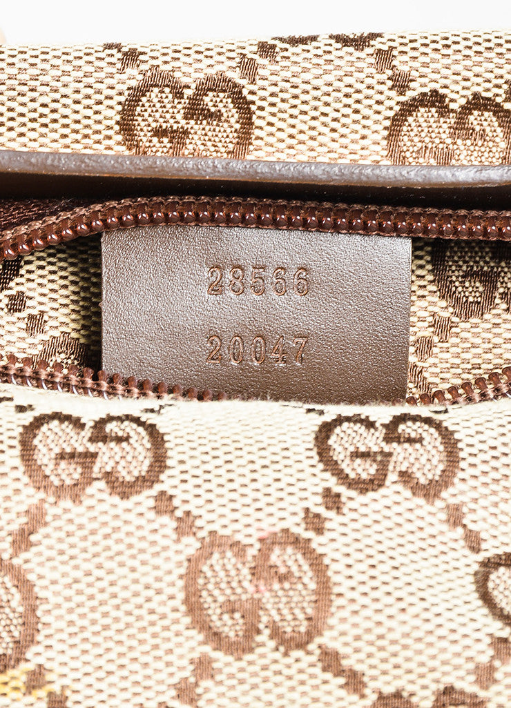 "Gucci Tan and Brown Canvas Leather Trim Monogram Print ""Original GG"" Belt Bag Serial"