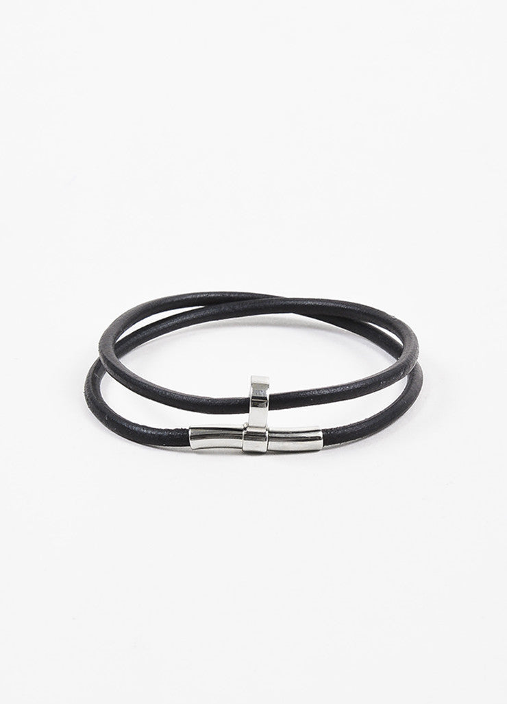 Hermes Black Leather Palladium Plated Double Wrap Bracelet Frontview