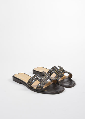 "Brown Hermes Studded ""H"" Strap ""Oran"" Flat Sandals Front"