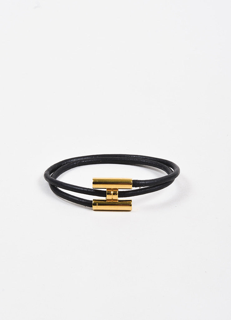 "Hermes Gold Toned and Black Leather ""H Logo"" Double Wrap Bracelet Frontview"