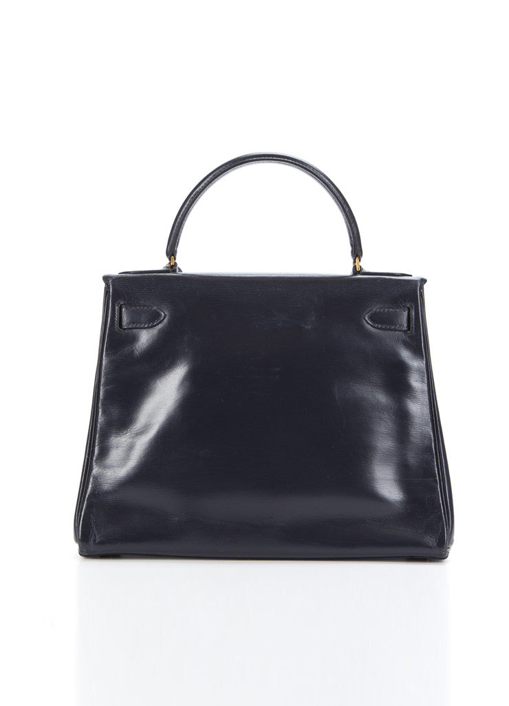 "Hermes Navy GHW Box Calf Leather ""Kelly Retourne"" 28 cm Bag Backview"