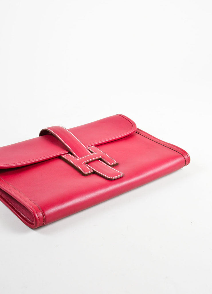 "Hermes Red ""Rouge"" Swift leather Toile Lined ""Jige PM"" Clutch Bag Bottom View"