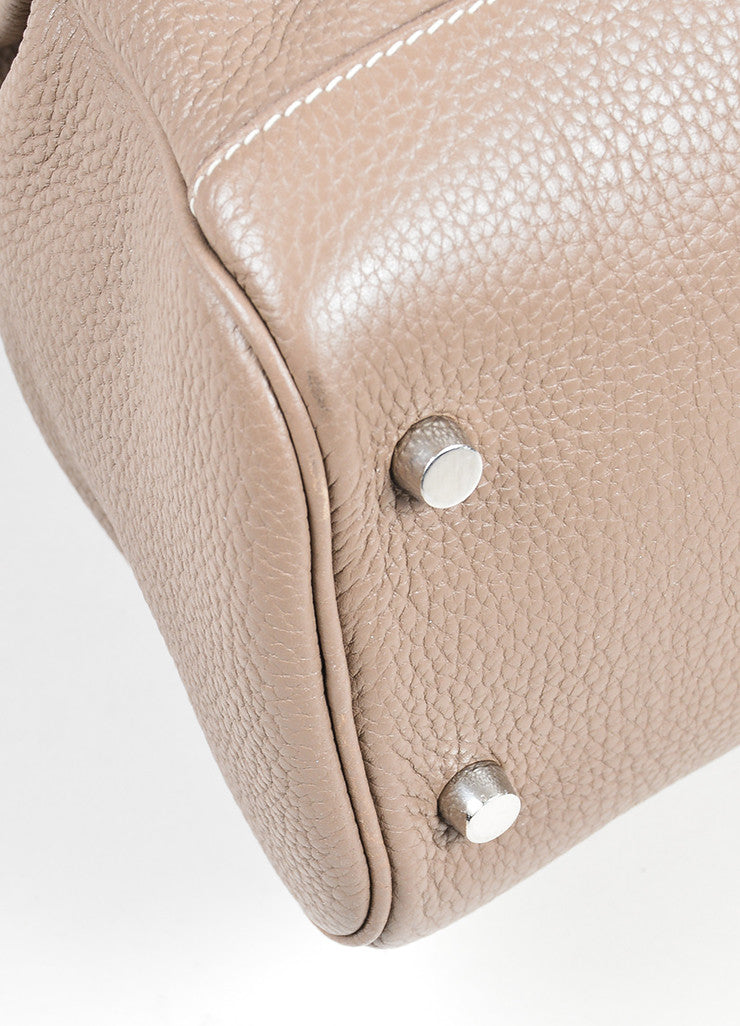 "Taupe Brown Grain Clemence Leather Top Handle Hermes ""Atlas 35"" Bag Detail"
