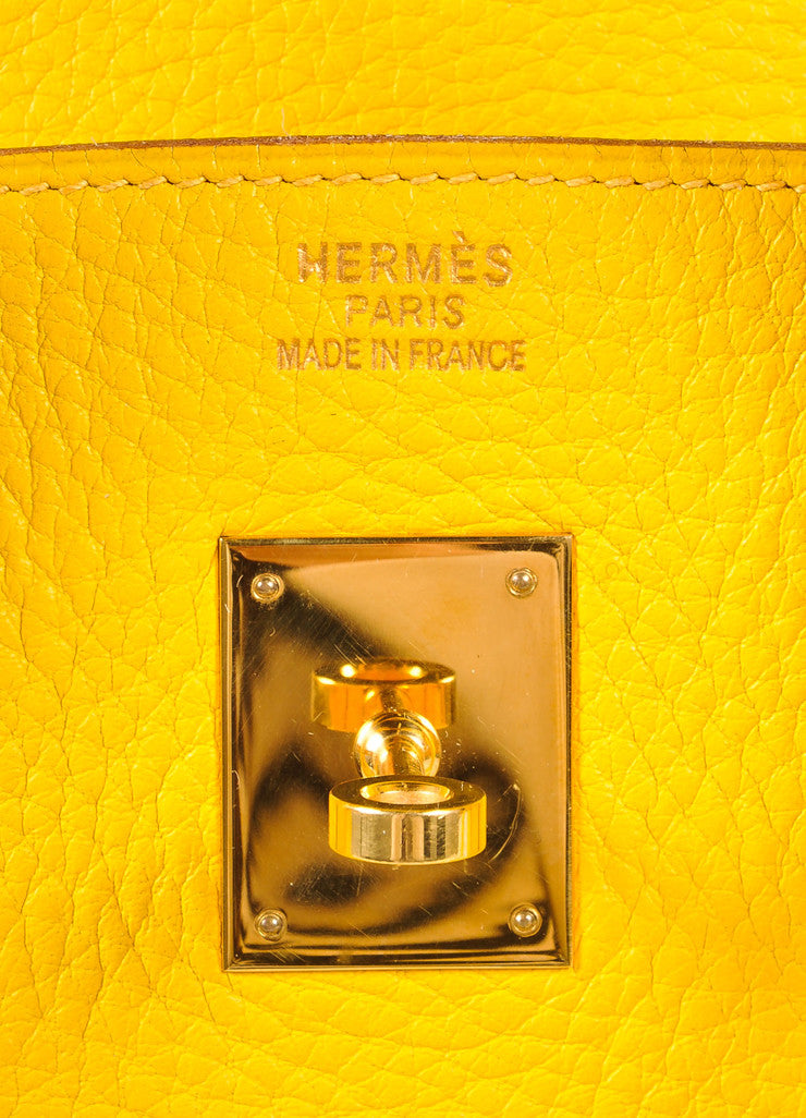 Hermes Yellow and Gold Toned Pebbled Togo Leather 35cm Birkin Bag Brand