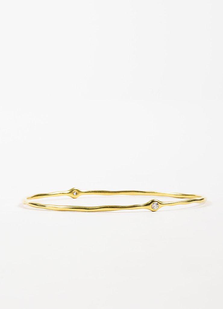 "Ippolita 18K Yellow Gold ""Glamazon"" 2 Diamond Bangle Bracelet Backview"