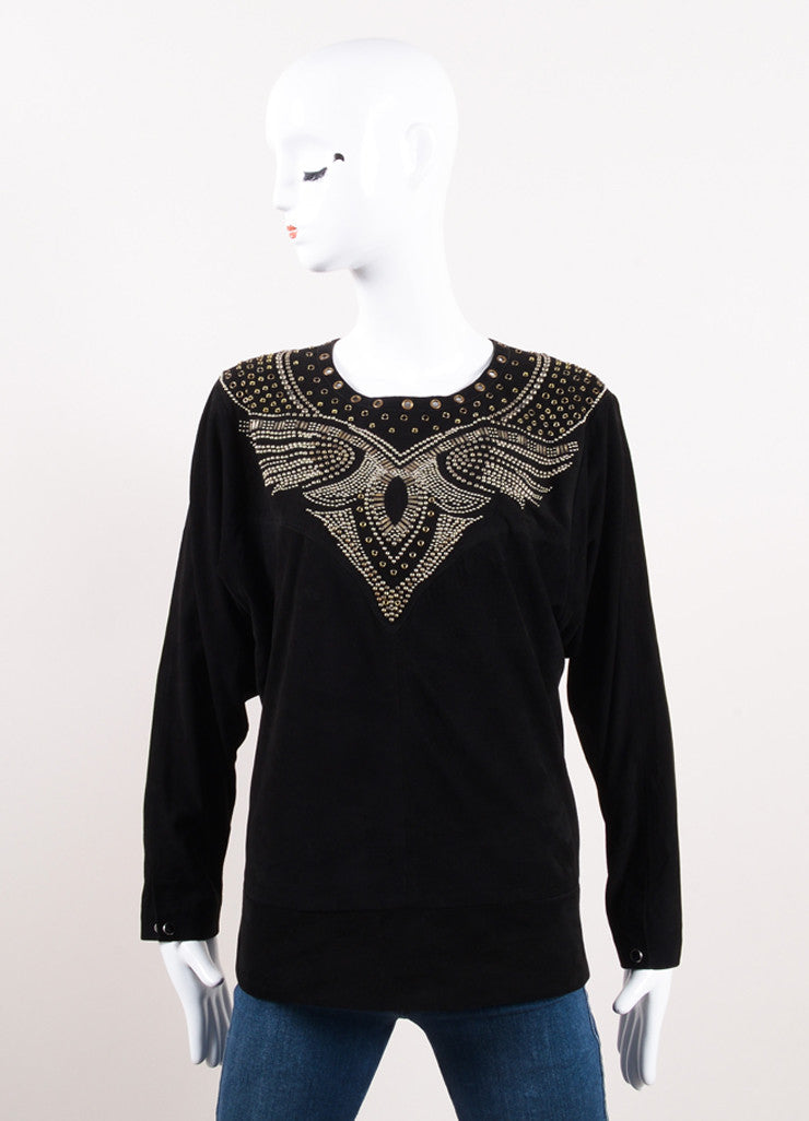 "Isabel Marant Black Suede Leather Studded ""Ostia"" Top Frontview"