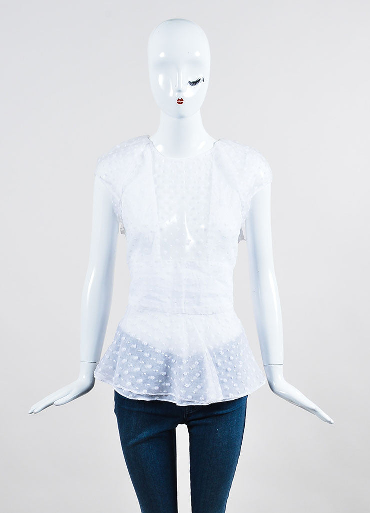 "White Isabel Marant Sheer Flower ""Vermer"" Short Sleeve Peplum Top Frontview"