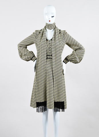 Cream and Black J. Mendel Knot Jacquard Long Sleeve Shirt Dress with Scarf Frontview