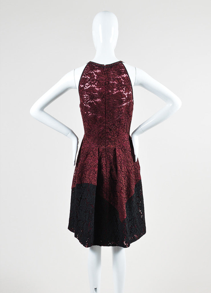 J. Mendel Maroon and Black Lace Pleated Sleeveless Cocktail Dress Backview