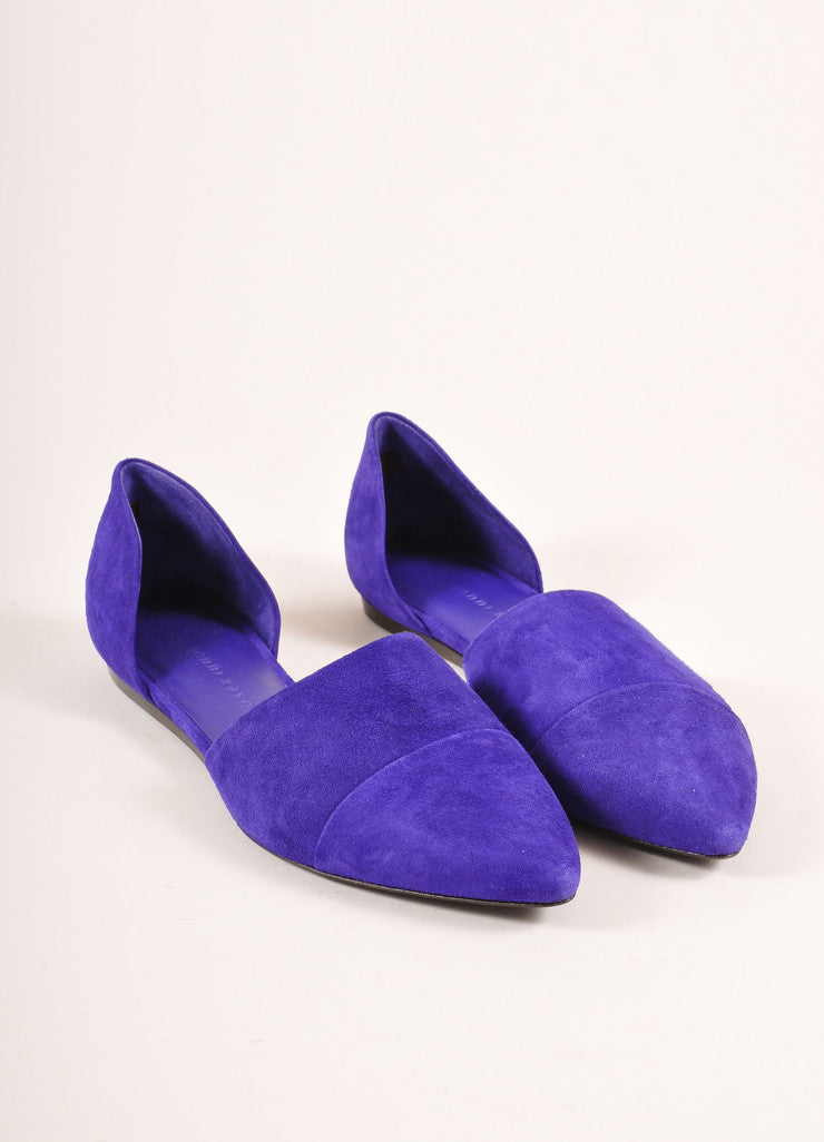 Jenni Kayne New Purple Suede D'Orsay Pointed Toe Flats Frontview