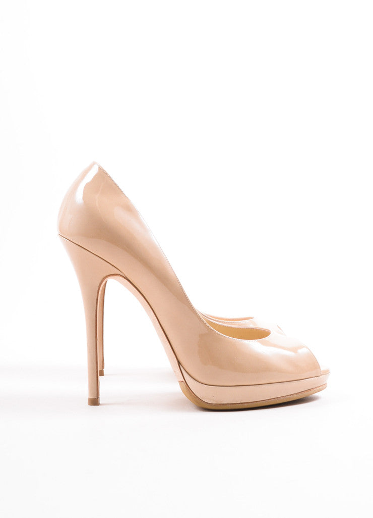 "Jimmy Choo Beige Nude Patent Leather ""Quiet"" Peep Toe Platform Pumps Sideview"