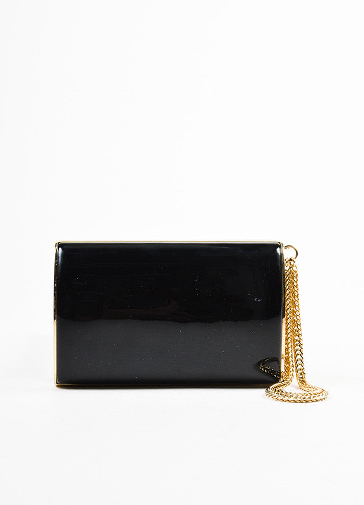Jimmy Choo Black and Gold Toned Patent Leather Chain Strap Wristlet Clutch Bag Frontview