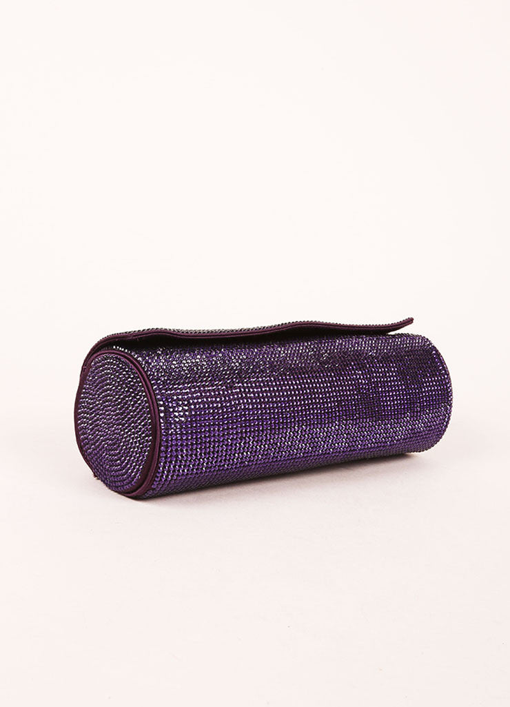 Judith Leiber Purple Crystal Rhinestone Barrel Clutch Bag Bottom View