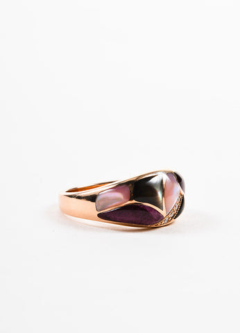 Kabana 14K Rose Gold Multicolor Mother of Pearl Diamond Mosaic Ring  Sideview