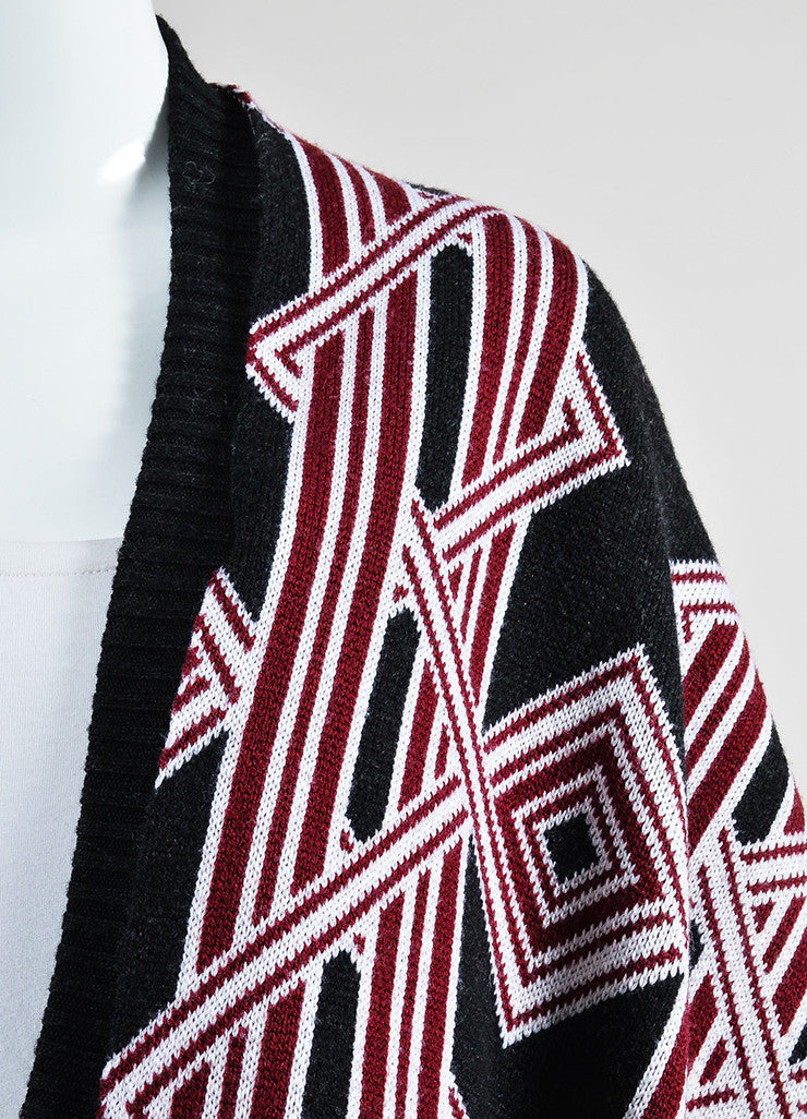 Black, Red, and White Kenzo Wool Geometric Knit Cardigan Sweater Coat Detail