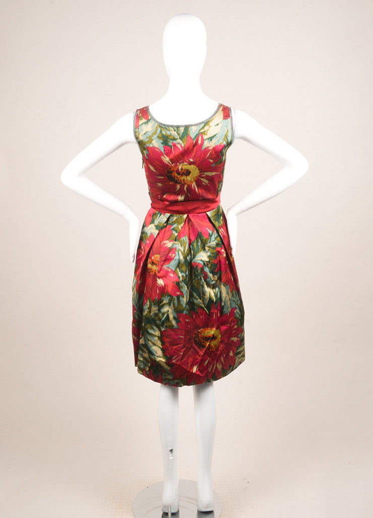 Lanvin Green, Pink, and Red Floral Print Sleeveless Pleated Dress Backview