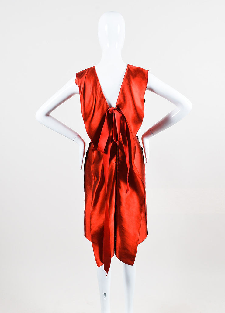 Lanvin Red Sateen Bow Draped Sleeveless Dress Backview