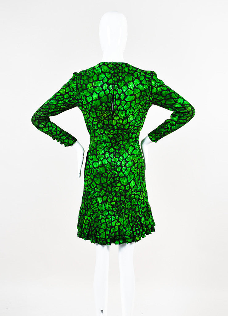 Libertine Green and Black Animal Print Rhinestone Pleated Hem Long Sleeve Dress Backview