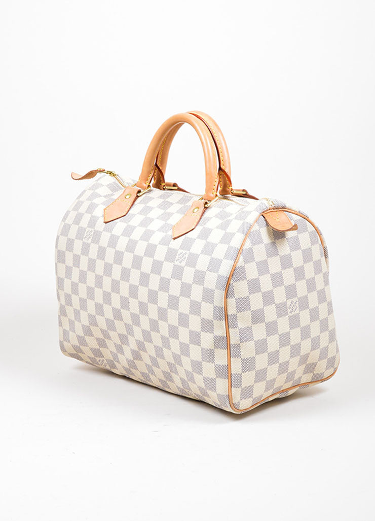 "Cream and Blue Coated Canvas and Leather ""Damier Azur Speedy 30"" Bag Sideview"