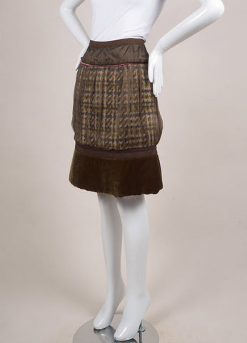 Louis Vuitton Brown and Green Chiffon Woven Knit Velvet Trim Pleated Skirt Sideview