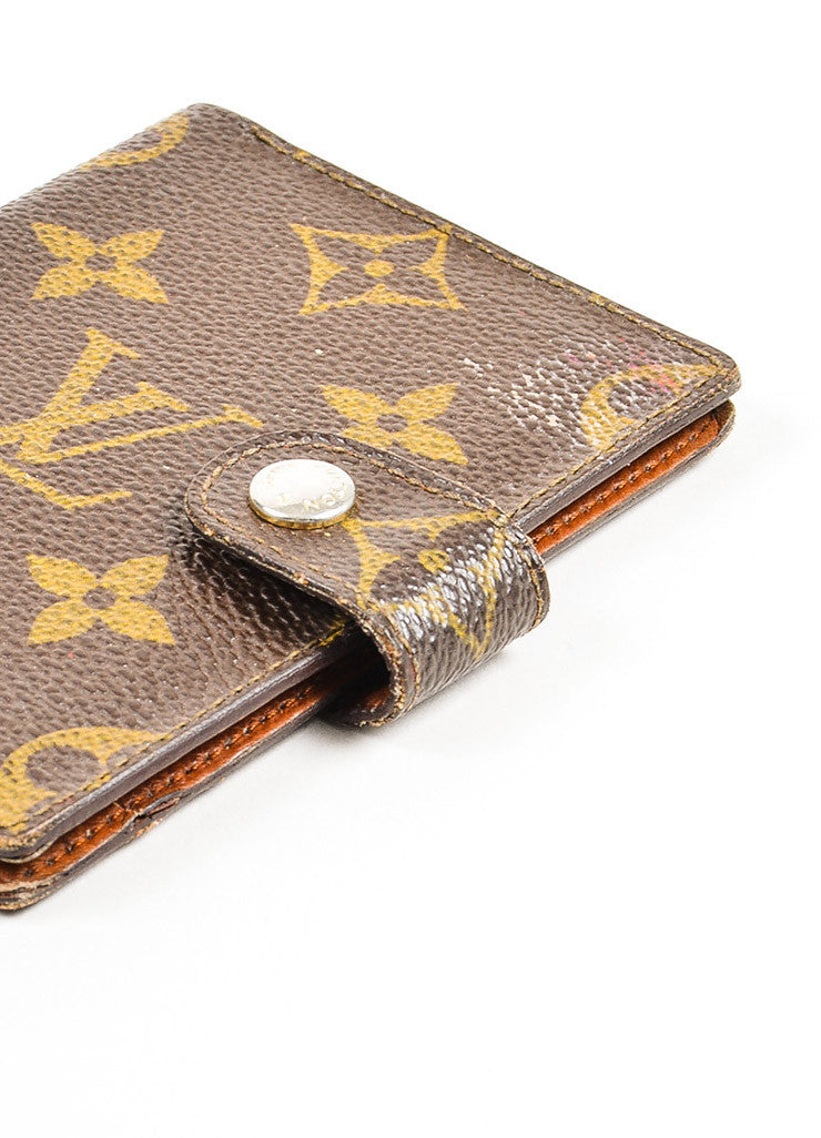 Louis Vuitton Brown and Tan Coated Canvas Monogram Snap Card Holder Wallet Detail