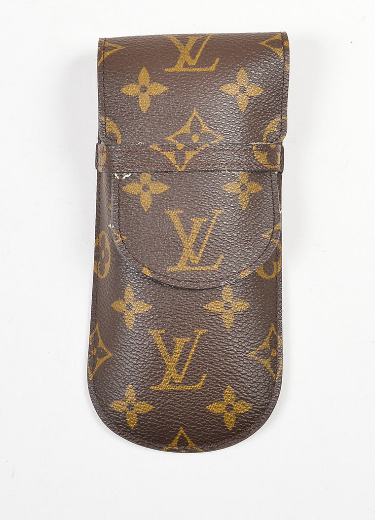 Brown and Tan Louis Vuitton Coated Canvas Monogrammed Sunglass Holder Case Frontview